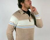Vintage Mens Sweater Beige Cream Blue Hipster