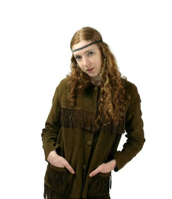 Handmade Tribal Headband Braided Suede Leather Black Boho Hipster Fashion