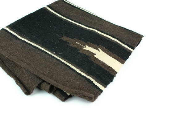 Vintage Rug Southwestern Woven Black Brown Cream