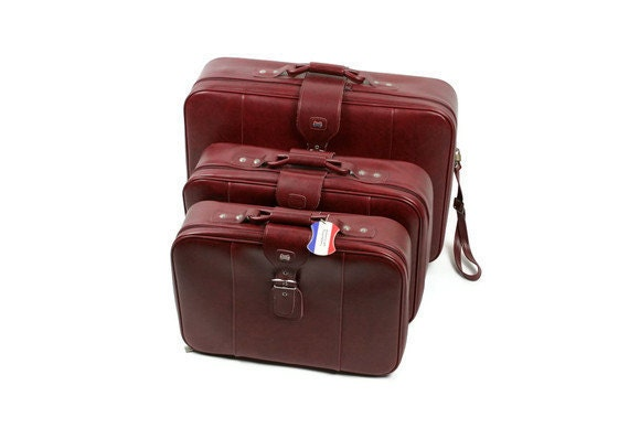 Vintage Luggage Suitcase Set Three American Tourister 1960's Marbled Cranberry Red