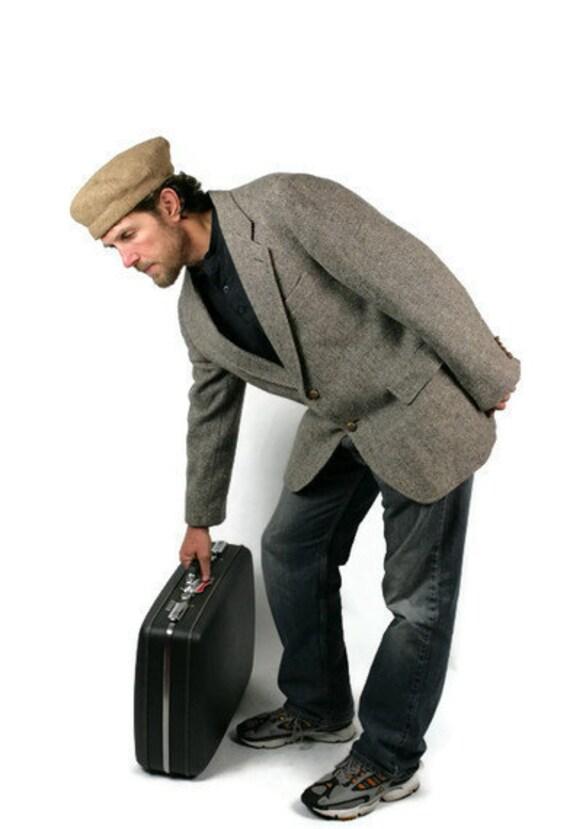 Vintage Mens Suit Coat Tweed Wool Herringbone Gray Tan Absent Professor