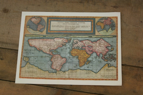 Vintage Art Lithograph Print Old World Map Replica De Jode Atlas 1593