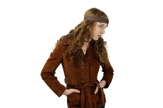 Vintage Jacket Coat Leather Suede Rust Bermans