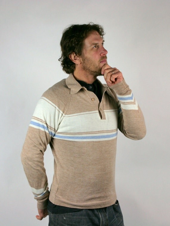 Vintage Mens Sweater Beige Cream Blue Hipster