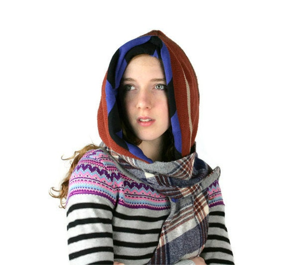 Upcycled Recycled Repurposed Sweater Hooded Scarf Rust Brown Blue Plaid