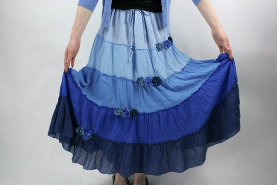 SALE SALE SALE Upcycled Embellished Reclaimed Maxi Skirt Boho Shades Blue Ombre