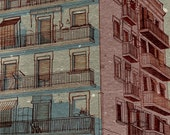 Drawing of a building, 5.5x11.5 print, grey and pink wall art