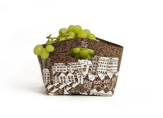 fruit  Basket ,bowl - city print, cork