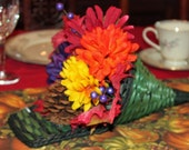 CLEARANCE SPECIALThanksgiving centerpiece green cornucopia basket with artificial flowers
