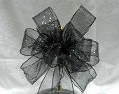 Black Glitter Wedding/ Pew Bows/ aisle decorations