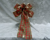 Christmas  Red and Green plaid bow with gold edging.