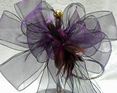Deep Purple Wedding/ Pew Bows  with feather inserts set of 12 Colors can be mixed and matched
