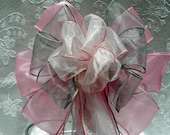 Pink, silver and blush pink Wedding/ Pew Bows set of 12 (colors can be mixed and matched)