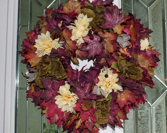 Autumn Wreath Plum Leaves with cream and sage flowers