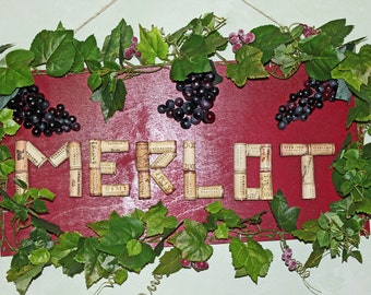 SALE/ CLEARANCE Sign Merlot Wine  corks, grapes and vines