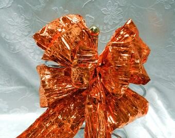Fall Metallic Orange Bow .