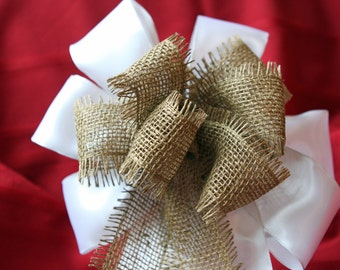 Wedding/ Pew Bows set of 12, White Satin and Burlap, made to match your wedding colors