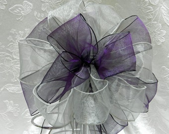 Eggplant Purple and Silver Wedding/ Pew Bows set of 10