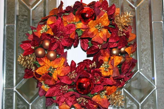 Rustic Red and Gold Velvety Poinsettia  Christmas Wreath