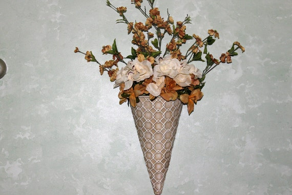 Items Similar To Cone Shaped Wall Vase Filled With Tan And Cream Artificial Flowers On Etsy