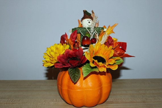 CLEARANCE SPECIAL Pumpkin centerpiece , scarecrow, sunflowers, mums, leaves, berries