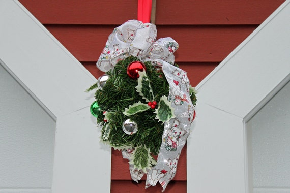Reserved for Kelly  4 Kissing balls Christmas Red and green Evergreen Kissing ball Holly berries and a Snowman ribbon.