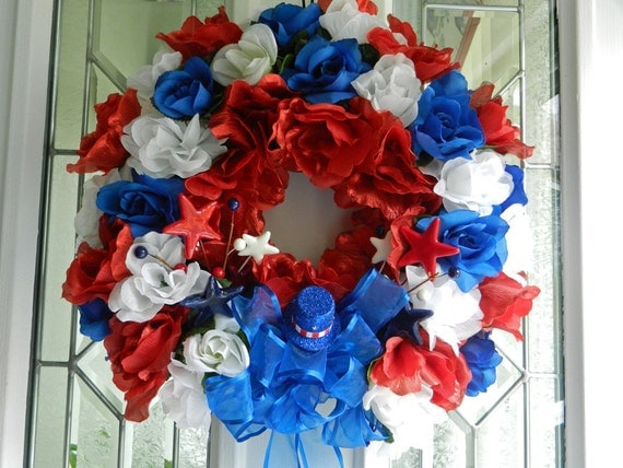Red White and Blue Patriotic wreath memorial