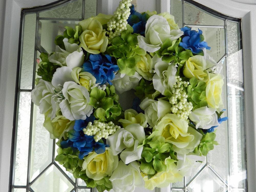 Spring Summer Wedding Wreath Centerpiece Artificial Blue And