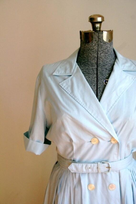 50s Pale Blue Shirtwaist Dress sz M-L