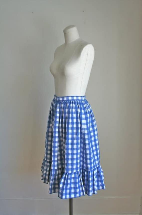 SALE // vintage full skirt - DOROTHY gingham ruffled skirt - XS