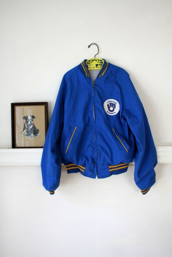 SALE // vintage boys bomber jacket - BREWERS milwaukee baseball team jacket 10-12/XS