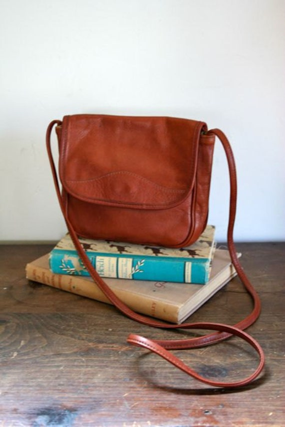 vintage leather bag - CARAMEL brown leather cross body bag