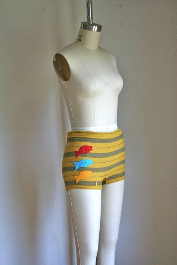vintage 60s swim shorts - THREE FISH bathing suit bottom / S