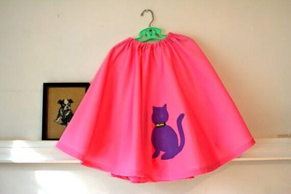 vintage girls circle skirt - PURPLE KITTY applique pink full skirt / 10-12yr or XXS