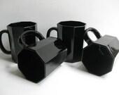 Four Black Octime Mugs  / France