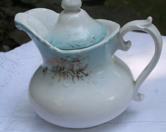 Antique Creamer . Pitcher . pale blue and gold . Victorian