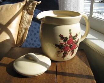 Stoneware Floral Pitcher