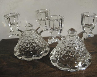 A Lovely Pair of Double Candlestick Holders