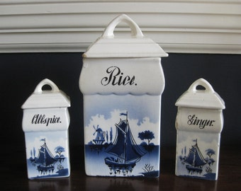 Sale .... Delft Canister and Spice Jars / Germany