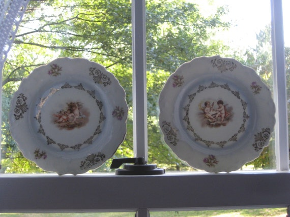 Reduced..  Three Antique Angel / Cherub Plates