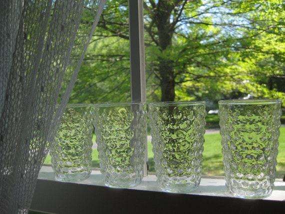 Set of Four Clear Blister Glass Juice Glasses