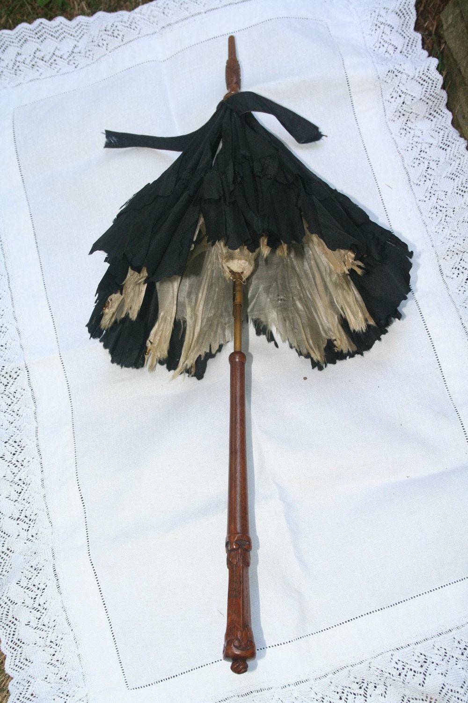 antique victorian parasol . children's . doll . mourning