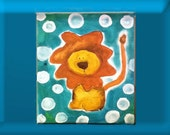 For Boy: Lion on Safari small canvas painting for nursery