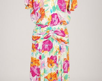 Vintage 80s BARBARA CALIFORNIA Floral Dress