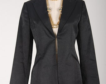 Vintage 80s Sparkly BLACK DINNER BLAZER / Jacket S