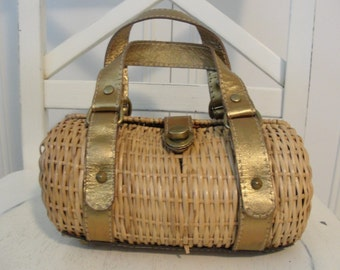 Vintage 60s WICKER HANDBAG With Bronze Leather Strap Miami Street Style