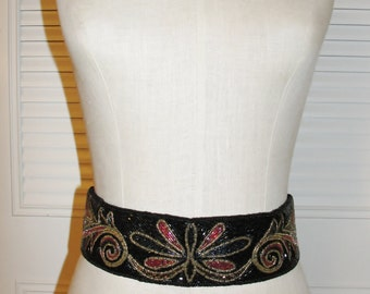 Vintage 80s Black & Floral Multicolor SEQUINED and Beaded BELT Free Shipping US
