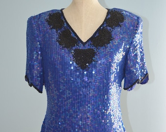 Vintage 80s SEQUINS TOP in Blue & Black Free Shipping US