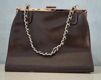 Vintage Leather Square VICTORIA WIECK Beverly Hills Handbag/Purse