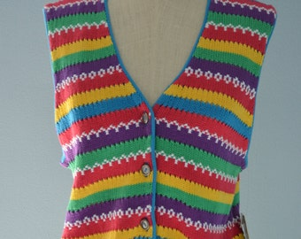 NWT Vintage 70s Liz Clairbone Multicolored Striped  Knitted Vest Sweater M